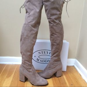 78fc2bbdc04 Steve Madden Shoes - STEVE MADDEN  Slayer  Taupe Over The Knee Boots